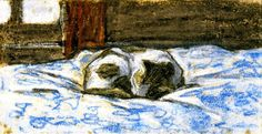 Cat Sleeping on a Bed  - Claude Monet