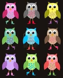9 Bright Owls  Pink, grey, yellow, green,  blue, brown, purple, greener, and red!  Which do you like?