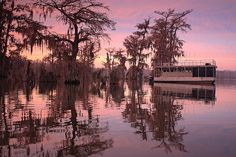 Pink Morning / Morning light on the houseboat at Lake Martin, near Lafayette, LA.