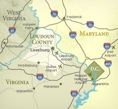 What Loudoun County Virginia looks like on a map.