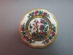 Coalport Vintage Miniature China Plate Brooch Indian Tree Design Made England #Coalport SOLD!
