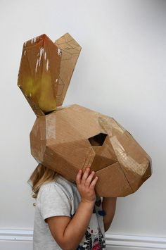 Animal mask, make your own hare mask from recycled card by Steve Wintercroft