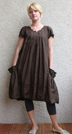 Eco friendly brown  linen dress - tunic. $64.00, via Etsy.