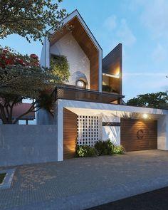 Entrance Design, Facade Design, Exterior Design, Narrow House Designs, Small House Design, Modern Villa Design, Modern Minimalist House, Home Building Design, Bungalow House Design