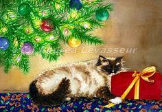 "Andrea's Art Studio ""Purrfect Present"" Christmas Cat watercolor by Andrea levasseur"