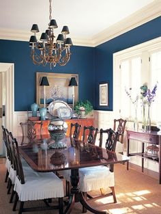 Overall too traditional for me but I love the wall color - lighter than navy but darker than royal
