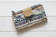 Double Zip Wallet From Handmade Style | Tokyo Train Ride Fabric | Radiant Home Studio | Noodlehead