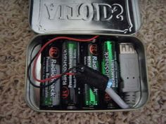 """""""This simple USB charger uses 4 AA batteries, an Altoids tin, and some miscellaneous parts that will cost you about $30 altogether. And when you're done, you can charge your USB device anywhere – just make sure you take some spare, fully-charged AA batteries with you if you're going to be away from outlets for a while."""" Think I found my next boredom project! #cyclingforbeginnerssimple"""