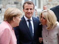 Brigitte Macron flaunts endless legs as she gets friendly with Angela Merkel in Germany Brigitte Macron, French President, Emmanuel Macron, Presidents, Mini Skirts, Couple Photos, People, Germany, Fashion Trends