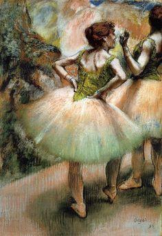 Edgar Degas (1834-1917). Dancers, Pink and Green. Pastel  N'ayant pas à vendre ses tableaux pour vivre, il va continuer à travailler, sans commande, sur ses thèmes favoris : portraits contemporains, courses de chevaux, scènes de café, monde du spectacle. Dans ce dernier, il va de plus en plus s'intéresser particulièrement auballet, qui va devenir pour lui le sujet artistique dominant.  Il voit dans le ballet, en dehors de la magie qu'il exerce sur lui, un sujet idéal d'observation du…
