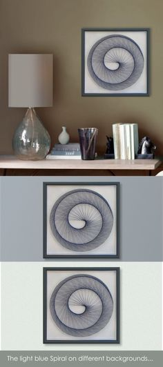 "Home Decor, Wall decor, 3D Modern Abstract String Art, Light Blue Pastel, Framed 12,6""x12,6"" (32x32cm), ready to hang, by Suzana Športa - pinned by pin4etsy.com"