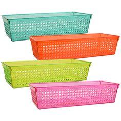 Round Plastic Storage Baskets with Handles Craft Room Storage, Decorative Storage Bins, Plastic Storage, Storage Baskets, Decorative Boxes, Dollar Tree Organization, Diy Organisation, Storage Organization, Organizing Toys