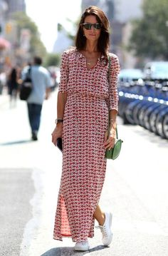 Pin for Later: All the Best Street Style From New York Fashion Week NYFW Street Style Day 3 Who says Summer is over? Hedvig Opshaug made the most of this late-season heat wave in a breezy maxi. Cool Street Fashion, Look Fashion, Trendy Fashion, Fashion Tips, Fashion Trends, Casual Dresses, Fashion Dresses, Summer Dresses, Hijab Casual