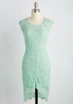 Game of Glam Dress in Pistachio - Mint, Solid, Wedding, Daytime Party, Graduation, Sheath, Sleeveless, Spring, Knit, Lace, Better, Scoop, Short, Variation, Bridesmaid