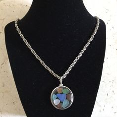 Lovely Locket of Colored Sea Glass with a Blue Sea by TillyFritz