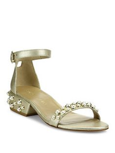 Stuart Weitzman - All Pearls Studded Metallic Leather Ankle Strap Sandals