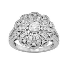 1 CT. T.W. Diamond 10K White Gold Flower Ring  found at @JCPenney