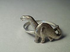Brontosaurus Ring, Dinosaur Ring, Hammered Sterling Silver Ring, Animal Jewelry, Dinosaurs. $33.50, via Etsy.