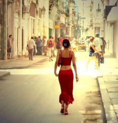 Woman in Red in Havana