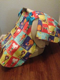 PEEKABOO Carseat canopy Colorful Circus by LilacsAndLeopards