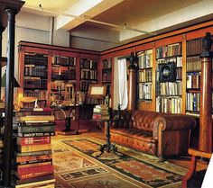 A very masculine library. The rug, the columns with urns, the shelves, that chesterfield, I love it all!