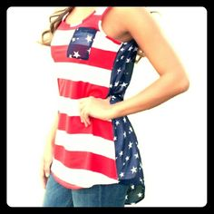 4th of july cute top Cute sleeveless top with flag design Tops