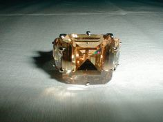 champagne cz crystal ring sz. 91/2 by qualityvintagejewels on Etsy, $42.00