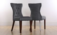 Bewley Slate Fabric Button Back Dining Chair (Wenge Leg) Only £69.99   Furniture Choice