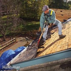 Tear off shingle roofing, step-by-step, including safety tips, how to work quickly and efficiently, roofing disposal, and closing up the roof before rain.