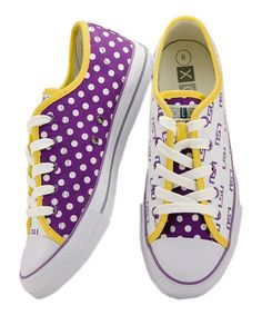 Take a look at this Purple & Yellow LSU Sneakers - Kids & Women by XOLO Shoes on #zulily today!
