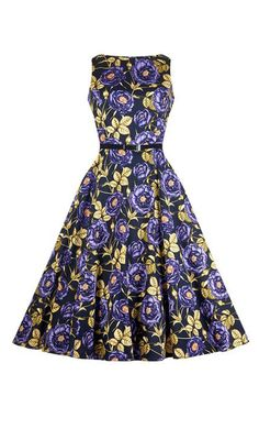 Purple & Yellow Rose Hepburn Swing Dress