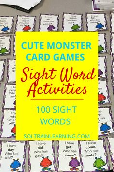These monster sight word cards are great for the Halloween season or any time of the year. Students love playing these games as they learn 100 sight words. #sightwordactivities#sightwordactivitiesforfirstgrade#halloweenactivities#sightwordgames