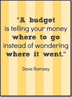 A Budget Is Telling Your Money Where To Go Instead Of Wondering Where It  Went. Dave Ramsey Money Quote For Budgets