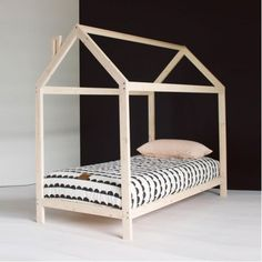 Raised House Bed with Slats