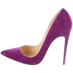 Pre-owned Christian Louboutin So Kate 120 Pumps ($525) ❤ liked on Polyvore featuring shoes, pumps, purple, purple pumps, christian louboutin pumps, purple suede shoes, christian louboutin and pre owned shoes