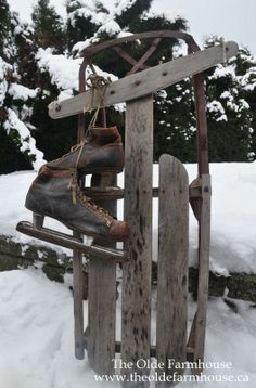 Old skates and sled