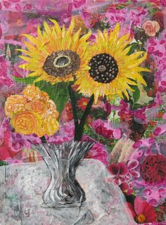 "Mixed Media Collage Art ""Sunflowers"" by CynthiaShawCreations on Etsy Collage Art Mixed Media, Mixed Media Painting, Small Words, Sunflowers, Red And Pink, Art Inspo, Pink Flowers, Original Paintings, Greeting Cards"