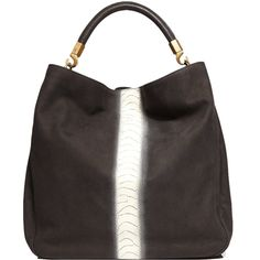 Yves Saint Laurent Roady Black Leather Bag With Contrast Panel <3<3