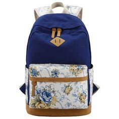 EcoCity Canvas Laptop Backpacks Travel Back Pack Super Cute Bookbags (Navy)