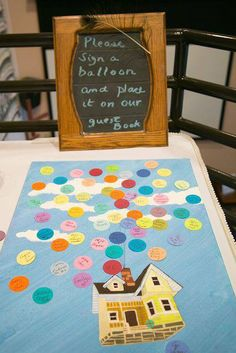"""UP themed guest book. """"Please sign a balloon and add it to our guest book!"""""""