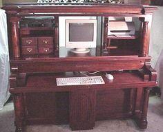 Repurposing Furniture - piano made into a desk Diy Furniture Projects, Furniture Making, Furniture Makeover, Furniture Decor, Refurbished Furniture, Repurposed Furniture, Vieux Pianos, Piano Crafts, Piano Desk