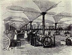 Dibujo de la fábrica textil Marshall's Mills para el tratamiento del lino, en Holbeck, Leeds, Inglaterra, mostrando la maquinaria textil y las - Suplemento Revista Penny, diciembre 1843.