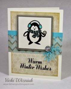Warm Winter Wishes card using the CTMH Frosted papers and the Wintry Wishes hostess stamp set.  by Vicki Wizniuk