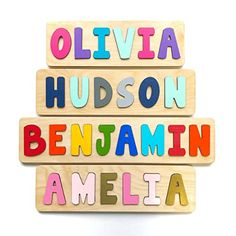 Amazon.com: Wooden Name Puzzle, Gift for Baby or Toddler, Handmade in the USA: Handmade Jigsaw Puzzles For Kids, Puzzles For Toddlers, Wooden Puzzles, Toddler Puzzles, Wooden Letters, Kids Letters, Diy For Kids, Gifts For Kids, Name Puzzle