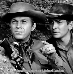 Steve McQueen and Michael Landon in 'Wanted Dead or Alive'. Michael Landon, Steve Mcqueen, Tv Actors, Actors & Actresses, Bullitt Movie, Clint Walker, Charles Bronson, Tv Westerns, Cowboys And Indians