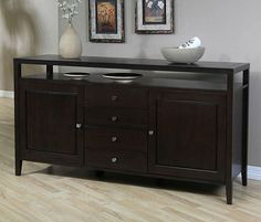 Looking for an elegant entertainment center or centerpiece to complete an open living space? This Aristo rubberwood two-door buffet makes a dramatic design statement that commands attention. Adjustable storage options add versatility for various items.