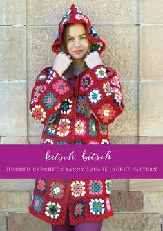Hooded Crochet Granny Square Jacket Pattern.