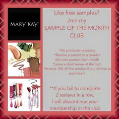 Sample of the month club Contact me to join! www.marykay.com/aphillips0315 aphillips0315@marykay.com www.facebook.com/aphillips0315