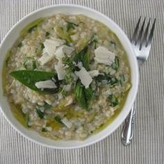 Green olives, lemons and a generous douse of olive oil give Mediterranean flair to this creamy rice bowl. Recipe from Lottie + Doof, found at www.edamam.com