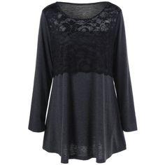 Plus Size Lace Insert Tunic T-Shirt, BLACK GREY, XL in Plus Size Tops | DressLily.com